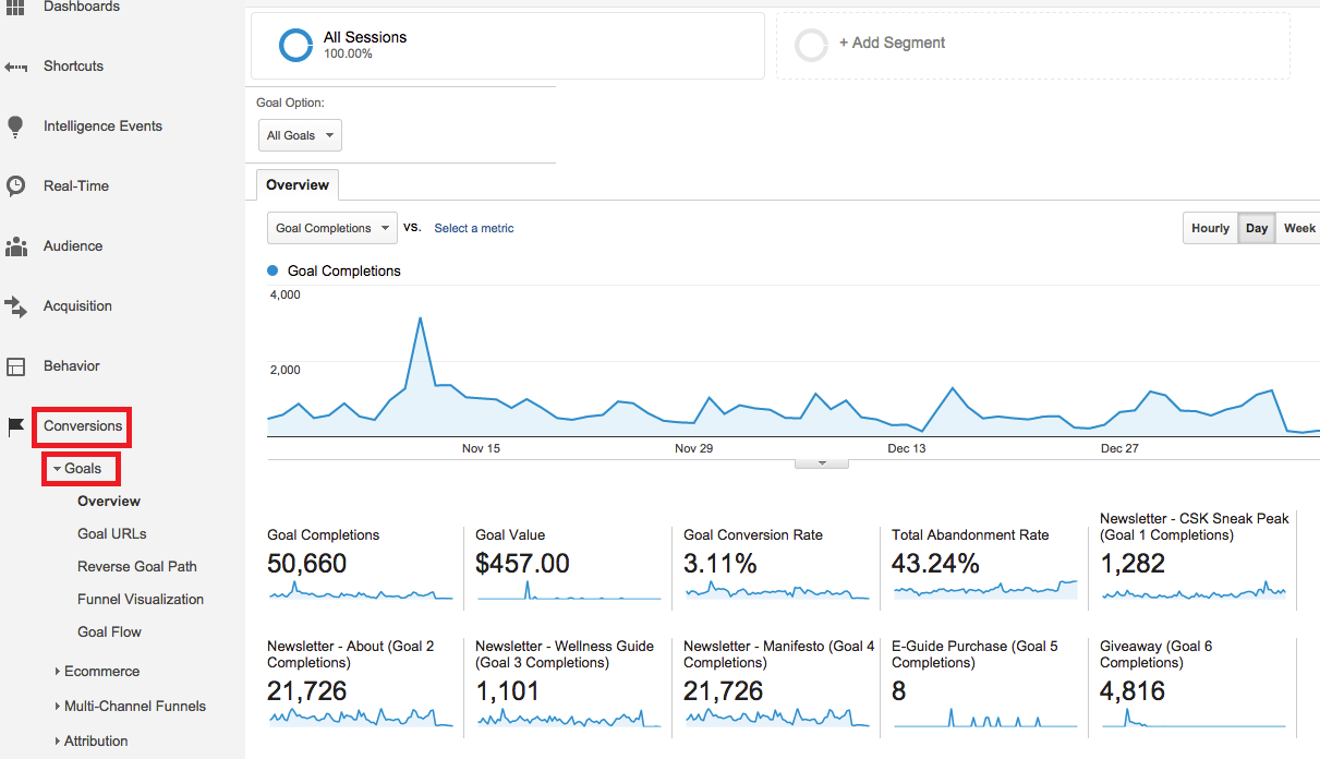 google analytics goal overview