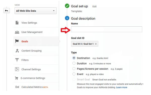 goal in google analytics