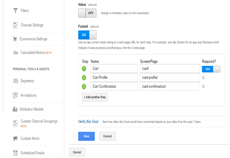 setting up goal funnel visualization in google analytics